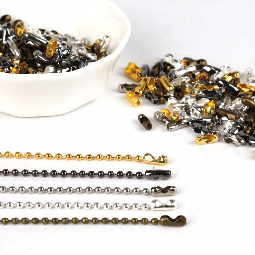 Acessórios dos conectores da corrente da bola dos fechos do cobre de 200 pces 8.6x3.5mm, conectores da corrente de pernagem do ferro de 5m 2.4mm para a fatura da jóia de diy