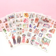 6 Pcs/lot Girls Daily Life Decorative Stickers Scrapbooking Stick Label Diary Stationery Album Journal Planners Stickers