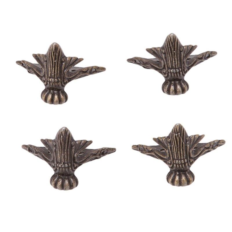 Conjunto de 4 unids/caja de muebles de madera y cofre de joyería de bronce antiguo, Protector esquinero decorativo para patas, decoración Vintage QB878443