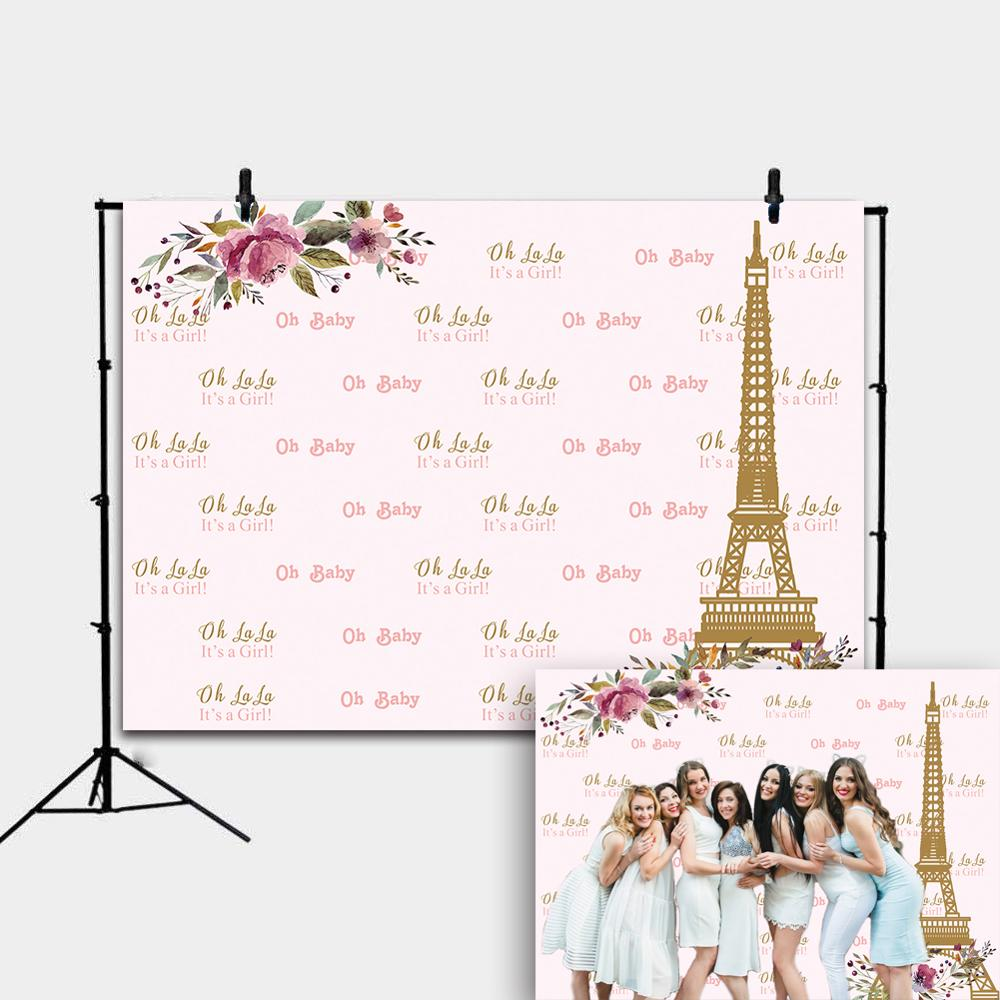 Paris Eiffel Tower Baby Girl Backdrop Cute Flower Princess Girl Birthday Party Photography Baby ShowerBackground Cake Table Deco