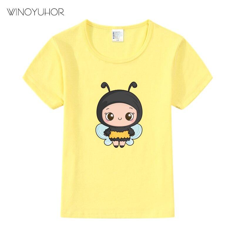 Одежда для маленьких девочек, Симпатичные хлопковые футболки с принтом пчелы, детские футболки с коротким рукавом для мальчиков, футболки с...