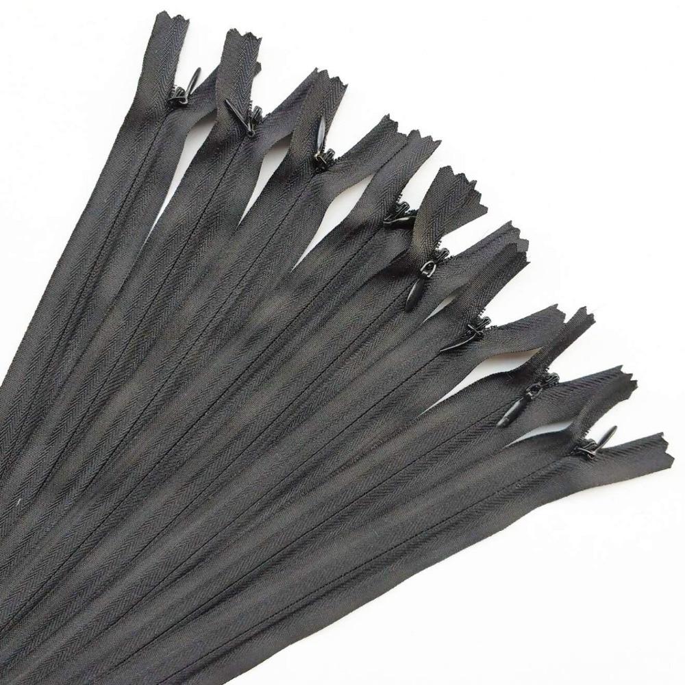 Suoja 6 pcs/15/25/40/50/60 cm White & Black cor da mistura Invisível zíperes Travesseiro Com Zíper Vestuário Vestido Roupas Almofada Cheia