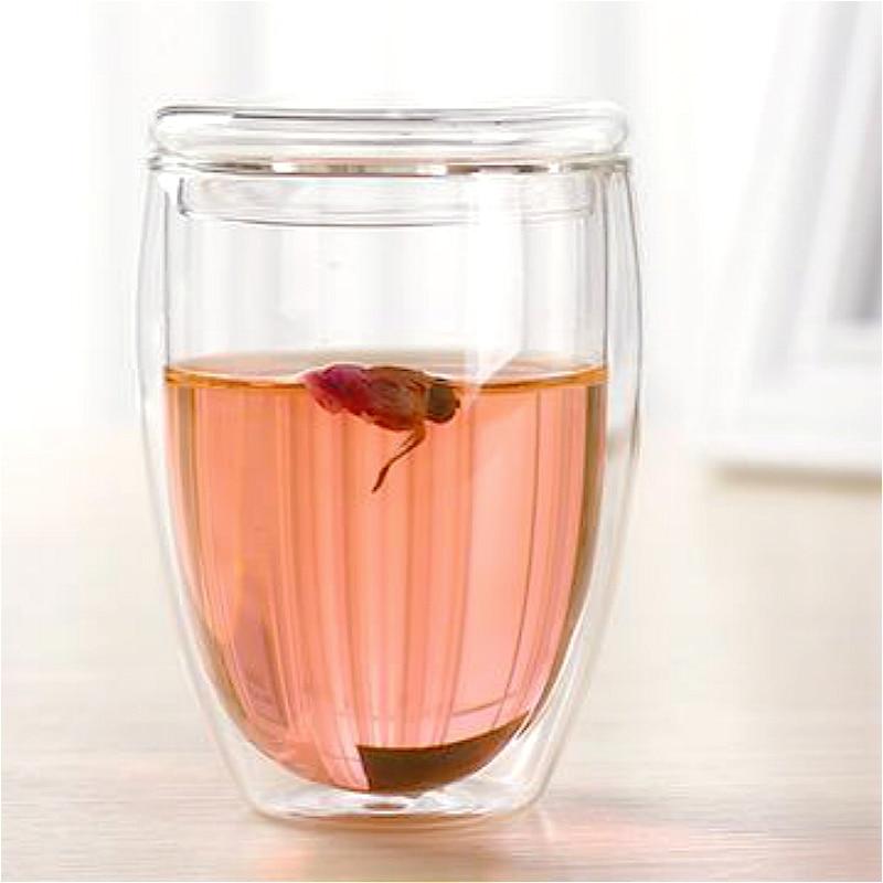 2018 doble pared de vidrio Bodum de doble cubierta tazas de vidrio con tapa soportable de alta calidad vino cerveza de vidrio en forma de huevo taza de café té