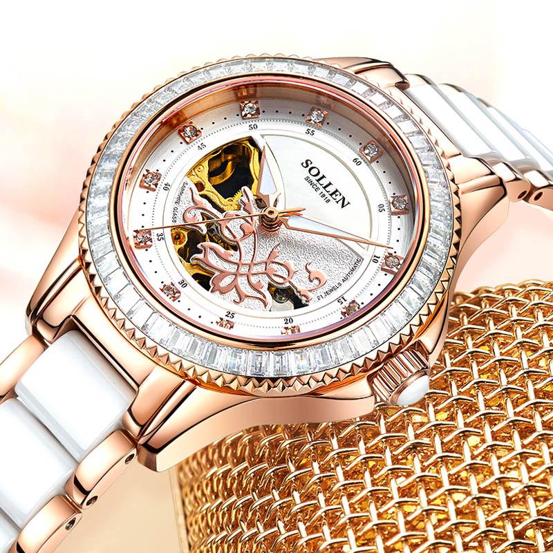 Luxury Brand Ceramic Crystal Automatic Mechanical Watch Women Dress Watch Fashion White Quartz Watches Female Steel Wristwatches enlarge