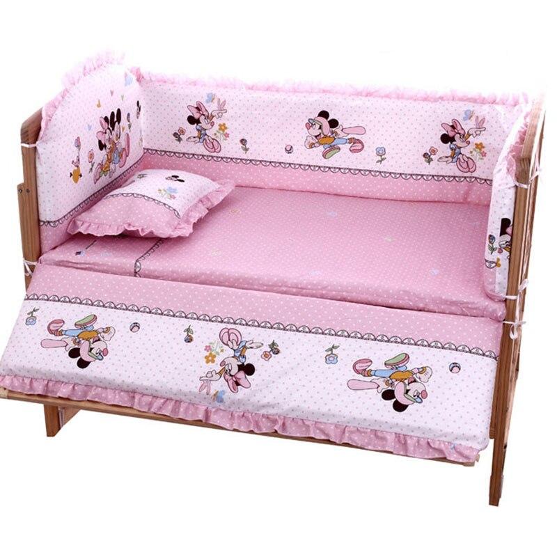 Комплект постельного белья для новорожденных, комфортный, моющийся, с рисунком из мультфильма, 5 шт./компл.