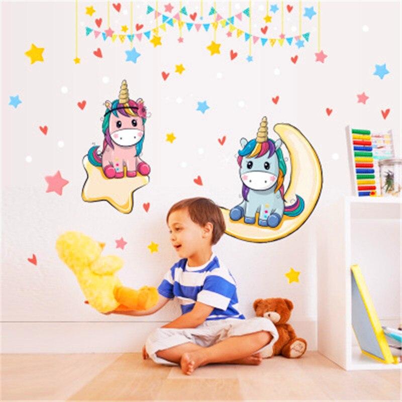 Cute Cartoon Unicorn Star Moon Pony Wall Sticker Girl Bedroom Home Decor Sticker Porch Living Room Art Sticker