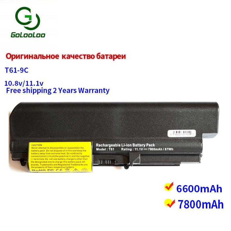 Golooloo 9 células bateria do portátil para IBM ThinkPad R60 R60e R61 R61e R61i T60 T60p T61 T61p Series para LENOVO ASM 40Y6799 92P1138