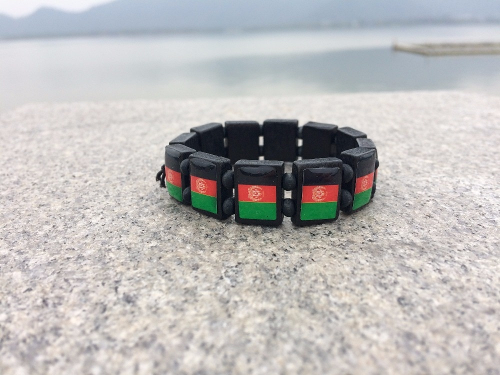 2 unidades por lote, colgante de pulsera de joyería de Afganistán, color negro y marrón, madera natural, mapa de moneda de Afganistán, banderas, pulsera de regalo