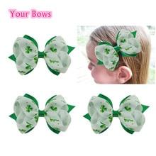 1PC 4Inches St.Patricks Day Shamrock Hair Bows  Girls Hair Clips Grosgrain Ribbon  Bows For Girls Hair Accessories