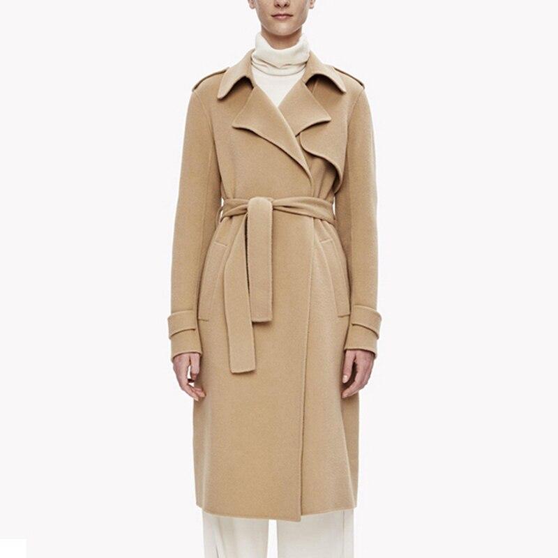 Savabien Korean Vintage Elegant Coat Winter Women Wool Jacket 2019 Warm Woolen Coat Long Sleeve Lace-up Belt Female Trench Coat