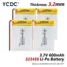 1/2/4 pièces 323450 li po ion lipo batteries rechargeables 3.7v 600mAh lithium polymère batterie 3 7V volts pour dvd GPS navigation