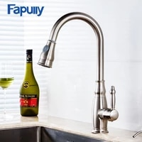 fapully kitchen faucet pull down nickle brush chrome finish swivel spout 2 function water outlet kitchen sink mixer taps