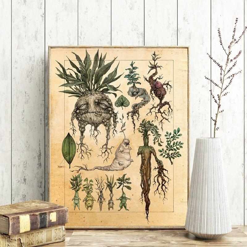 Ilustración artística de Harry Fan, mandrágora de planta de bonita decoración, lienzo, pintura de pared, película clásica, cartel para habitación de niños, decoración