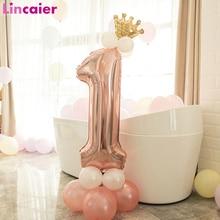 Ballon colonne pour fête de premier anniversaire   Pour fille et garçon, couleur or Rose, décoration pour joyeux anniversaire, fournitures pour mon an 1 anniversaire, pour enfants adultes