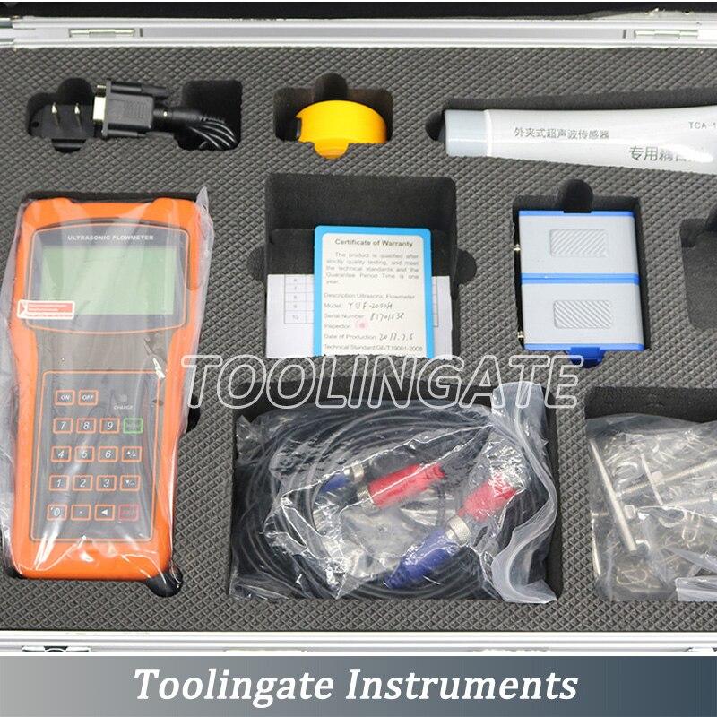 TUF-2000H ultrasonic liquid digital flow meter with HS-HT (DN15-100mm) Mounting Bracket Transducer handheld Flowmeters