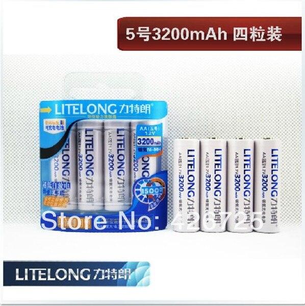 FREE SHIPPING! Super aa 1.2v 3200mah ni-mh rechargeable battery ( 4pcs / lot ) 5 years warranty