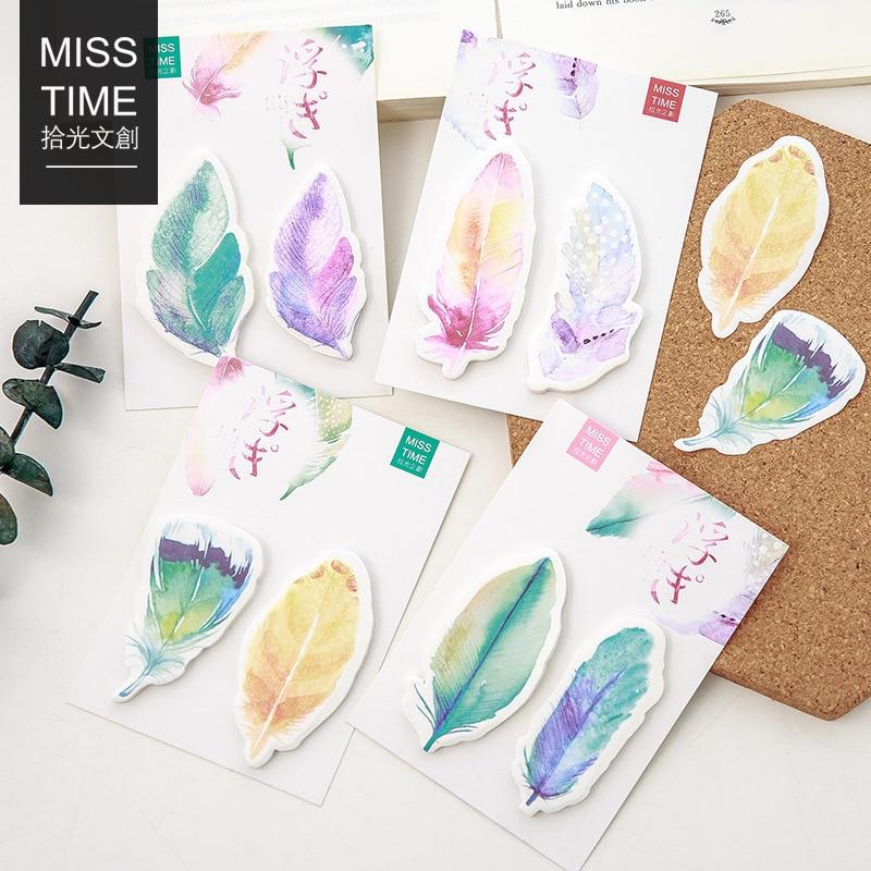 24 pcs/Lot bloc-notes couleur plume bloc-notes notes autocollantes journal autocollant papier adhésif signet papeterie fournitures scolaires de bureau F171