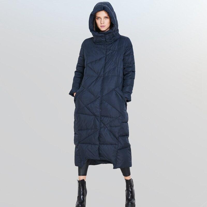 (TopFurMall) otoño invierno mujeres abajo Parkas abrigos con capucha 90% pato ropa de abrigo acolchada sobretodo x-long 4XL 5XL 1289