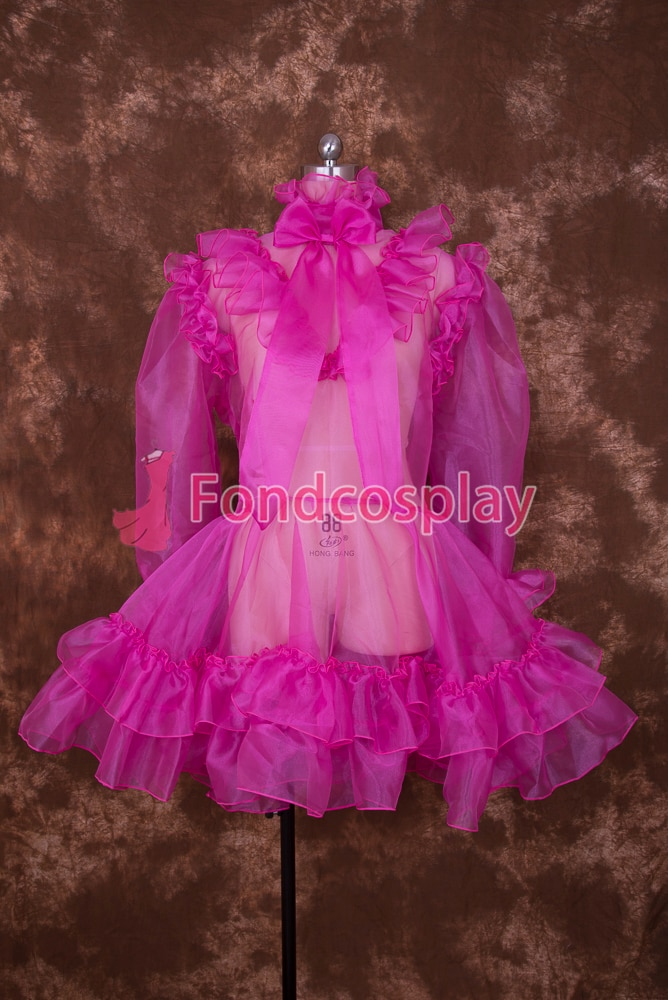 Sexy Sissy Maid Bloqueável Hot Pink Organza Vestido Curto Cosplay Traje Uniforme [O001]