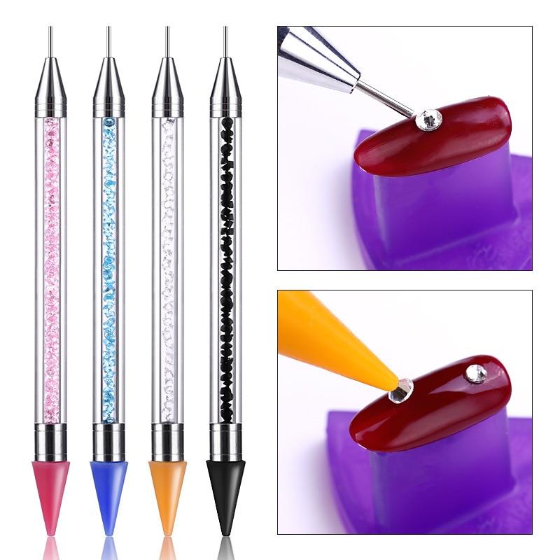 Crayon Metal Head Nail acrílico punteado pluma Rhinestones cristal diamante tachuelas selector lápiz para cera acrílico Mango para cuentas herramienta