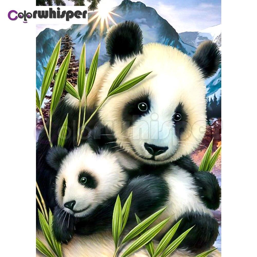 "Pintura de diamante cuadrado completo/Pintura redonda de Daimond ""Panda madre niño paisaje de bambú"" mosaico de diamantes de imitación bordado decoración 029DP"