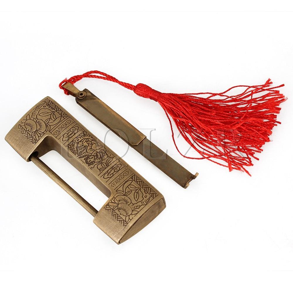 BQLZR 5cm cerrojo antiguo candado pestillo tallado chino Hardware para joyero Bronzy