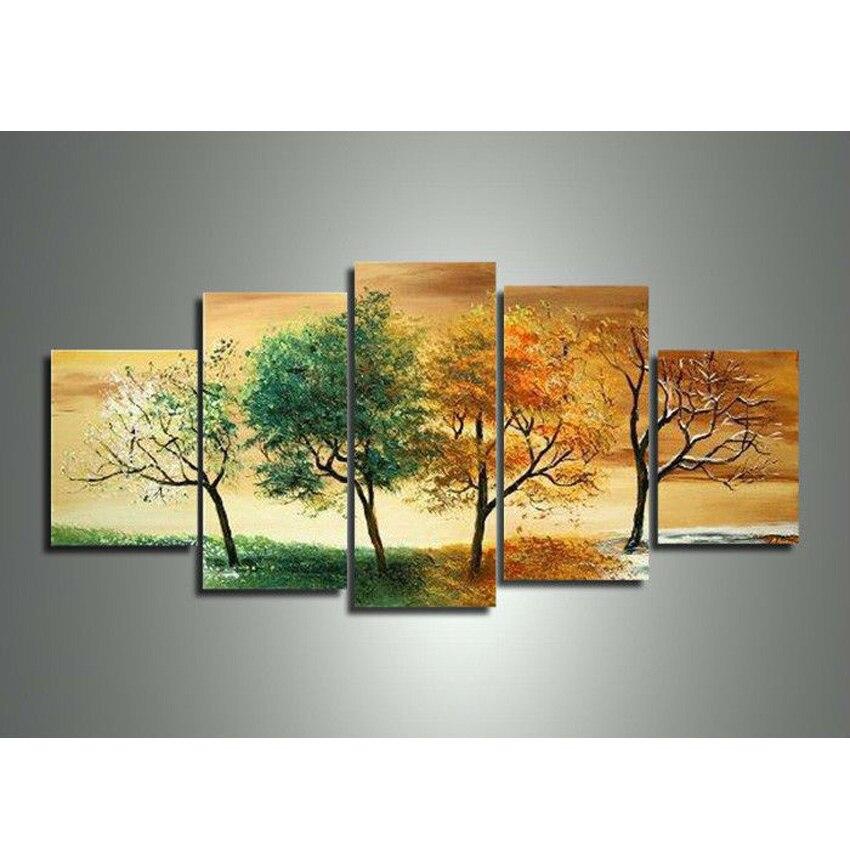 Arte de pared pintada a mano para decoración del hogar abstracto 4 árboles senson pintura al óleo de paisaje sobre lienzo 5 unids/set combinación para habitación