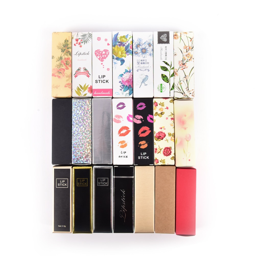 10 unids/lote 5G 5ml Tubo de bálsamo labial caja de cartón 21 colores lápiz labial tubo embalaje DIY caja 25*25*88mm papel Kraft colorido regalo
