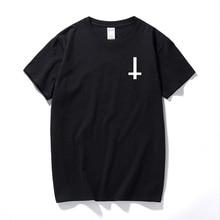 2017 New Fashion Satan Upside Down Cross Funny T Shirt Cotton Short Sleeve T-shirt Worship Satan T-shirt plus size men