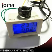 Gran oferta, voltaje de pantalla LCD Dual y medidor de corriente, panel de retroiluminación azul, voltímetro amperímetro, rango AC 200-450V 0-99.9A blanco