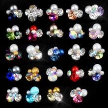 10pcs/set Colorful Shiny Crystal Nail Art Rhinestones Manicure Nail Charms 3D Flower Design Nail Art Charm Glass Jewelry JE1-17