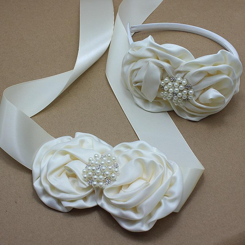 Fajín de flores de Rosa de satén marfil y Diadema con perlas, cinturón de roseta nupcial para boda, vestido, vestido, faja, vestido de niña, accesorios para el cabello