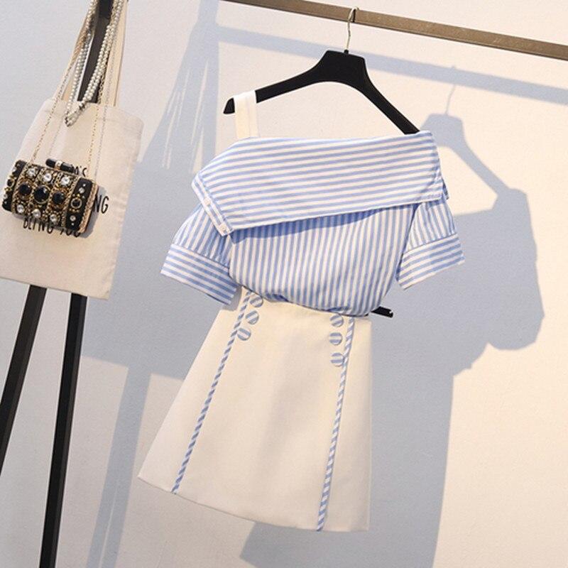 Женский комплект одежды из 2 предметов, летние сексуальные Полосатые блузки с открытыми плечами + мини-юбка с высокой талией и кнопками, большой размер, L-4XL, 2019