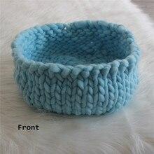 Newborn Posing Basket Knitted Thick Yarn Basket Newborn Bowl Cocoon Baby Photo Prop