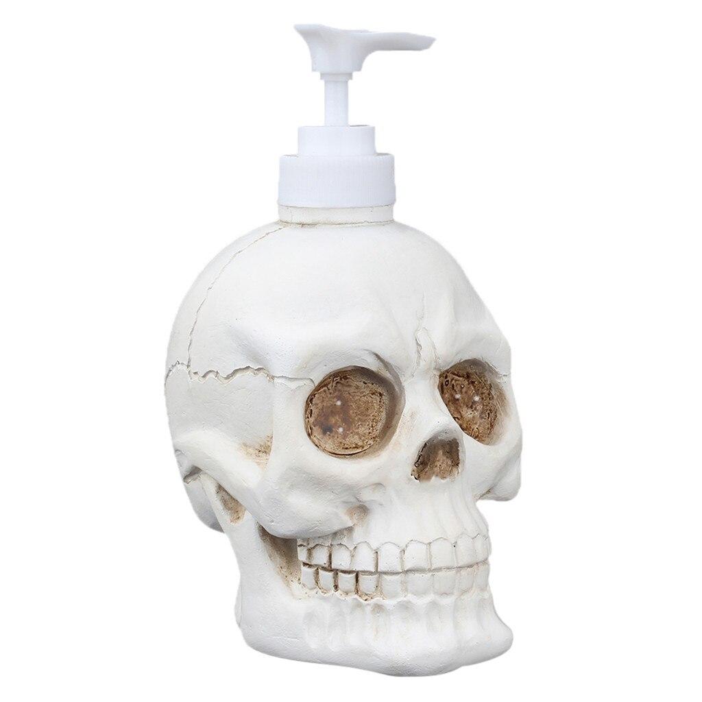 Botella de espuma creativa con forma de calavera de 350 ml, jabón líquido embotellador para baño, botellas de bomba de espuma de gel de ducha de resina de Cranio auténticas