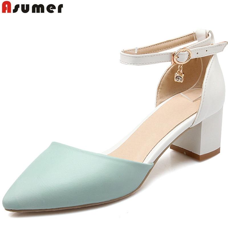 ASUMER, gran tamaño 33-43, zapatos de punta estrecha a la moda, zapatos de tacón cuadrado con hebilla para mujer, zapatos de tacón alto, zapatos recién llegados
