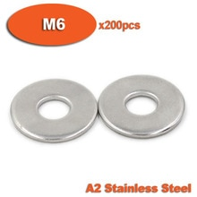 Rondelles plates grande taille en acier inoxydable   200 pièces DIN9021 M6 A2 lave-linge plat grande taille