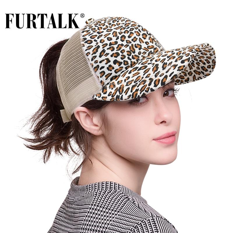 FURTALK  Leopard Ponytail Baseball Cap Women Messy Bun Baseball Hat Cotton Mesh Snapback Dad Hat