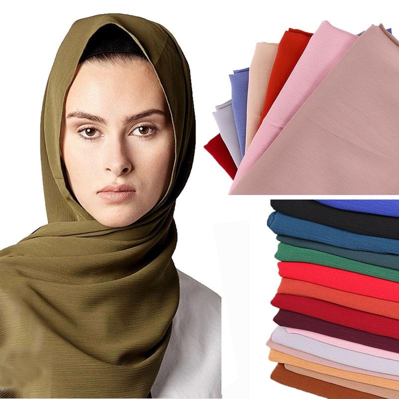 LMLAVEN mujeres arruga gasa arruga bufanda de hijab musulmana chal color sólido bufandas de envolturas de calidad diadema simple color 25