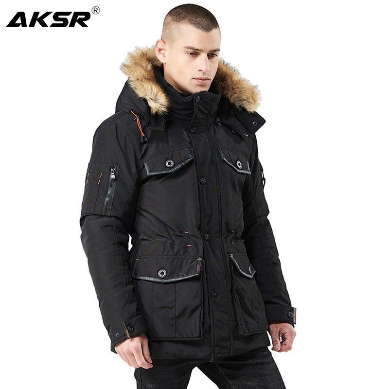 AKSR 2020 جديد الرجال الشتاء سترة Casaco Jaqueta Masculino معاطف باركا طويلة رشاقته الدافئة القطن ملابس خارجية غير رسمية معطف بياقة من الفرو
