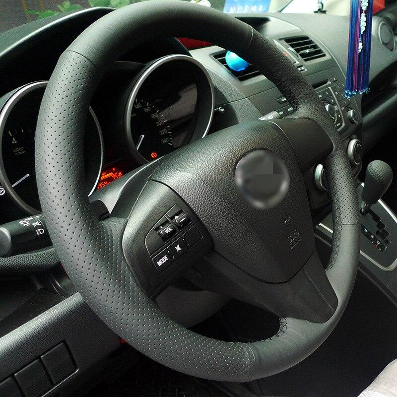 BANNIS funda para volante de cuero negro Artificial DIY cosida a mano para 2011-2013 Mazda 3 Mazda CX7
