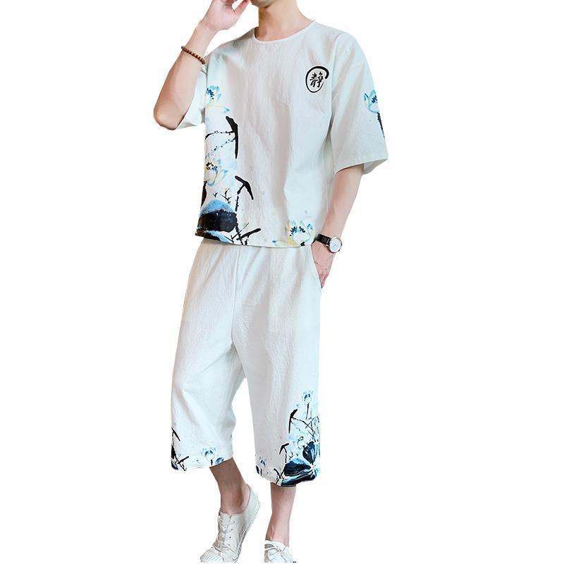 Chándales para hombre de talla grande 5XL 4XL, conjunto de algodón de manga corta, ropa de verano para hombre, Camiseta de cuello redondo + Pantalones recortados XXXXXL