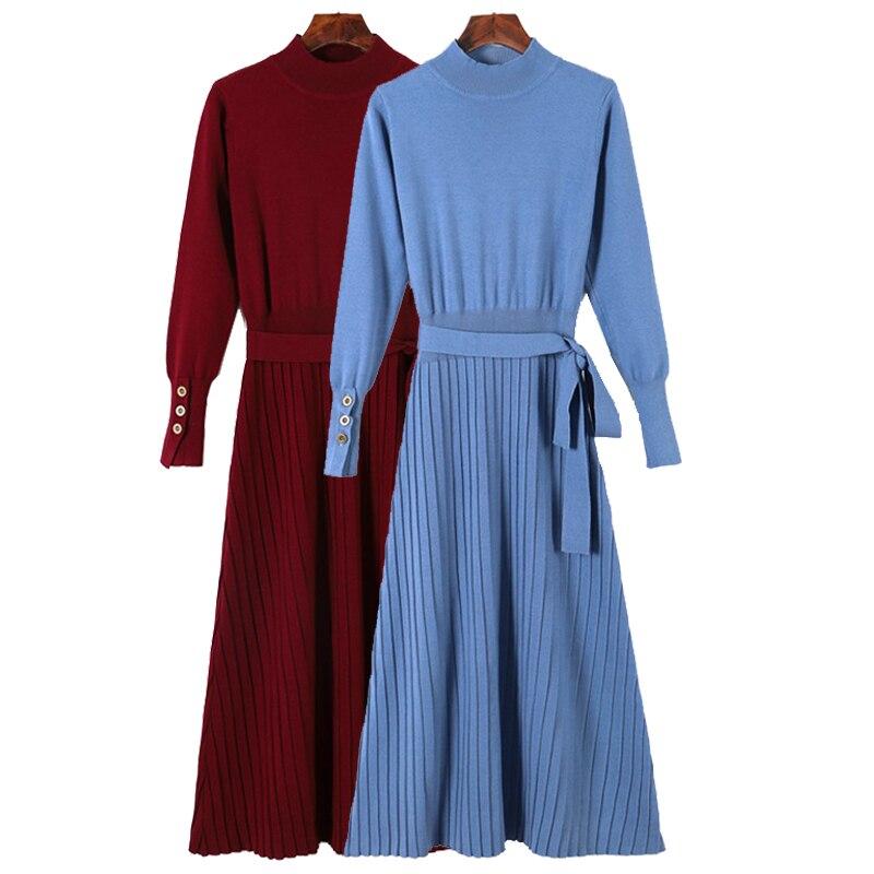 GIGOGOU, Vestido largo de cuello alto para mujer, 2019, vestido grueso para otoño e invierno con fajas, línea A, jersey tejido, suéter, vestidos, Pull Femme