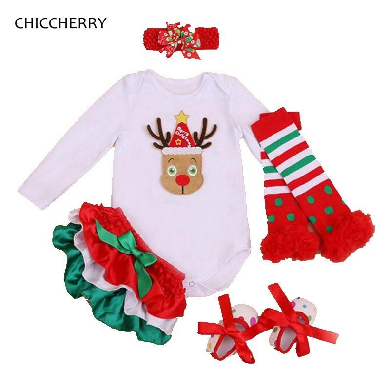 Bebê menina roupas de natal traje rena manga longa bodysuit bloomers perna aquecedores sapatos recém-nascidos roupas infantis