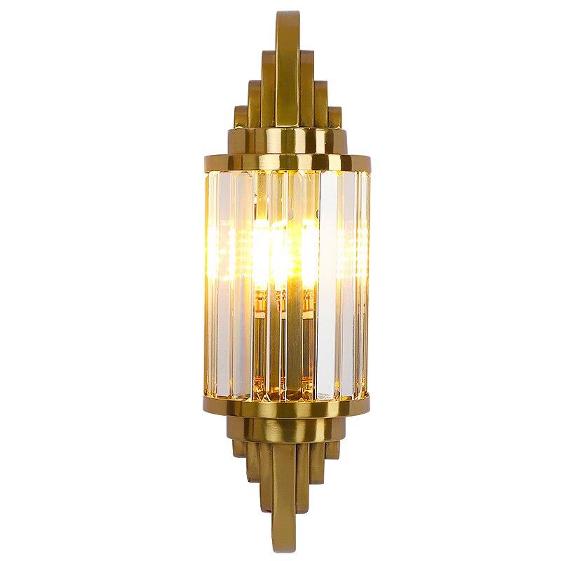 مصباح جداري من الكريستال الأمريكي من الفولاذ المقاوم للصدأ باللون الذهبي k9 مصباح كريستالي لإضاءة ممر غرفة المعيشة