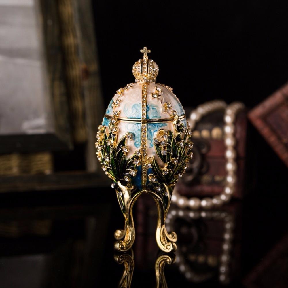 QIFU New Arrive Handicraft Metal Beautiful Faberge Egg for Trinket Box