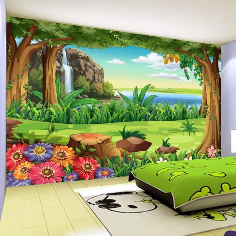 Papel tapiz 3D, murales De paisaje De bosque De dibujos animados para niños, telón De fondo De decoración para el hogar, Papel De pared Infantil