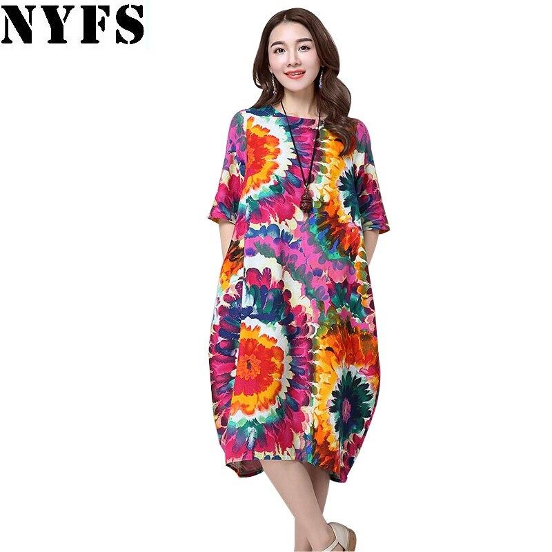 NYFS 2020 Summer dress National wind Women Dress Short sleeve Plus Size Loose Holiday Dress Vestidos Robe