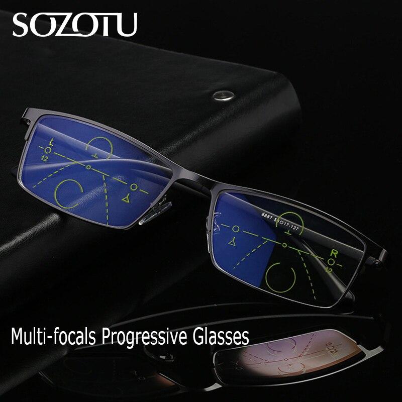 Gafas de lectura progresivas multifocales, gafas de hombre presbiopes, gafas de dioptrías masculinas, gafas 1,0 + 1,5 + 2,0 + 2,5 + 3,0 + 3,5 YQ599