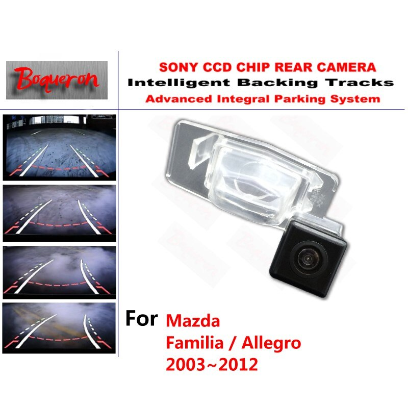 Para Mazda Familia/Allegro 2003 CCD 2012 cámara CCD de aparcamiento de respaldo inteligente pistas de guía dinámica cámara de visión trasera